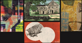 Four works of art by Christine Lee, Joan Mamelock, Abbie Birmingham, and Tina Albro