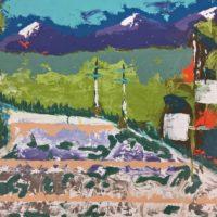 Osa Elaiho   Peaks and Poles   Mixed media on canvas