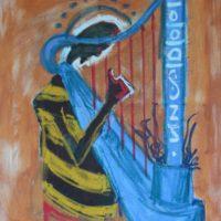 Osa Elaiho   Angel on harp   Mixed media on canvas   24 x 20