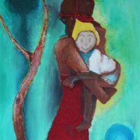 Osa Elaiho   Mother and Child   Acrylic on canvas   24 x 18