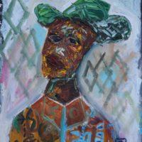 Osa Elaiho   Self Portrait with hat   Acrylic on canvas   24 x 20