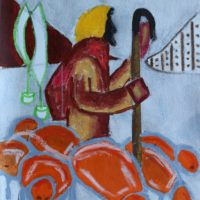 Osa Elaiho   The Shepard   Mixed media on canvas   16 x 12