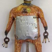 Joanne Bohannon   Measure of a Man   Ceramic, plaster strips, found objects   14 x 8